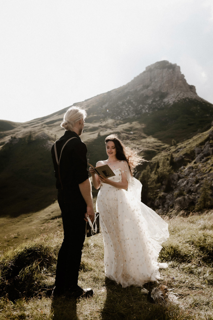 Vows are spoken on this alpine meadow in the Dolomites