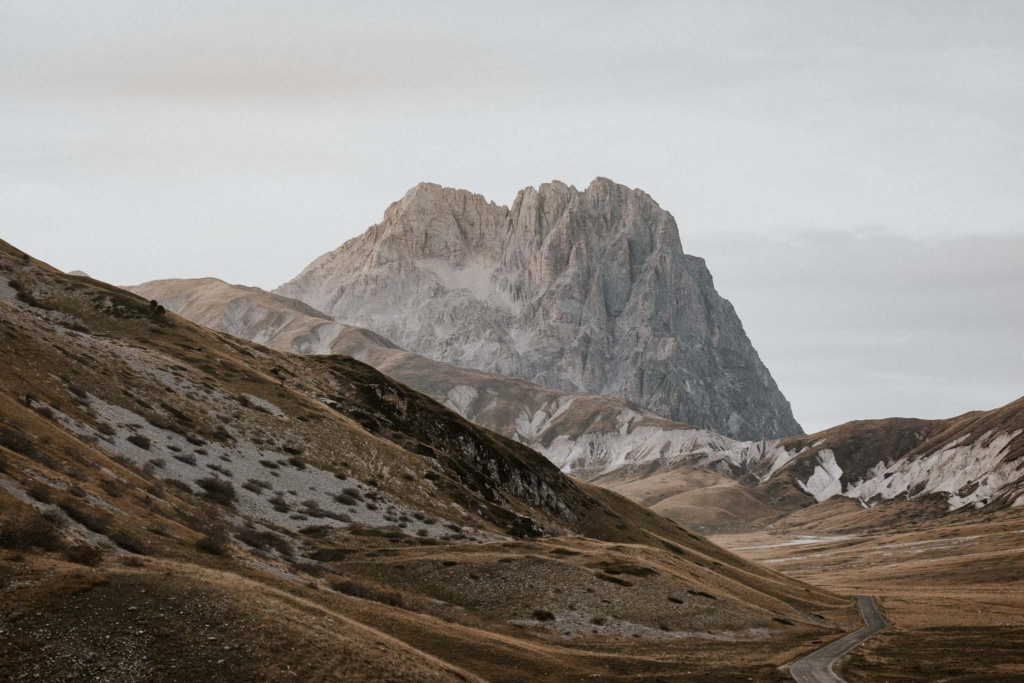 The peak of the Corno Grande in Abruzzo on a cloudy day, the perfect backdrop for an adventurous elopement