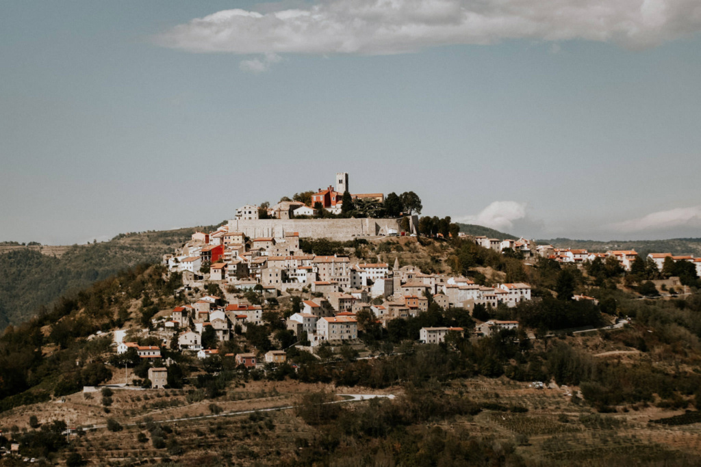 This is a view of the lovely old hilltown of Motovun in Istria, Croatie, perfect for your elopement