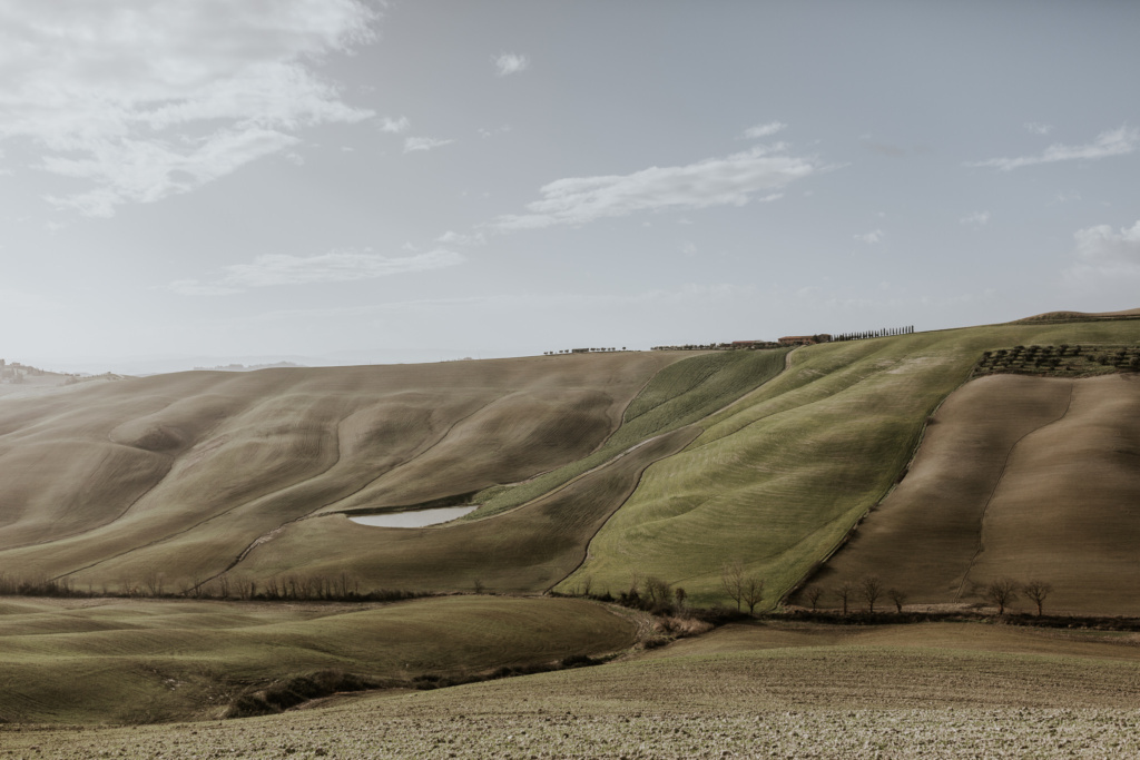 The grey lunar landscape of Crete Senesi, Italy, in the early spring