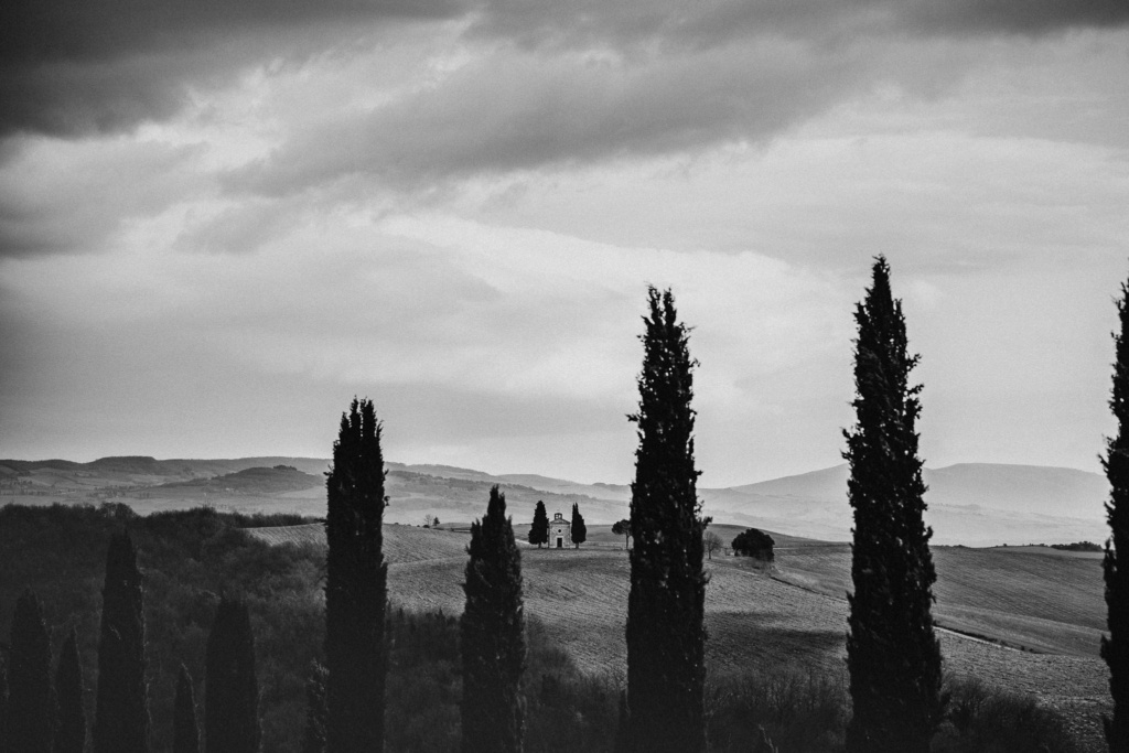 A black and white shot of trees, rolling fields and the Vitaleta Chapel in Val d'Orcia, Italy