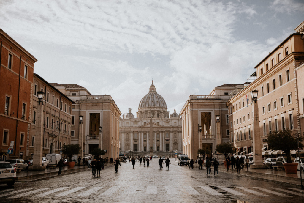 Sunny street view of Vatican City in Rome, Italy