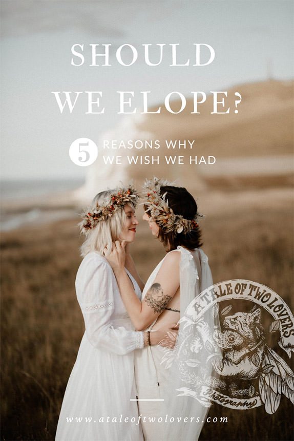 This kissing LGBTQ couple beneath a white cliff in France is a cover image for a blogpost answers on the question should we elope