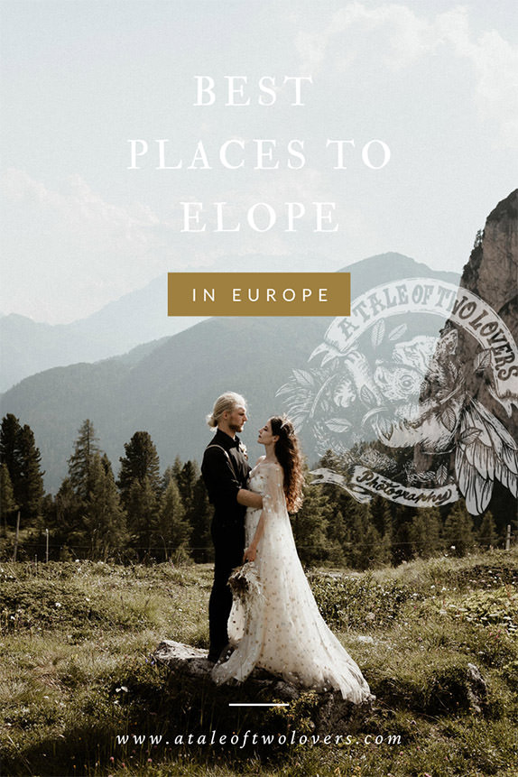 Elopement couple in the Dolomites on a button image for a blogpost about the best places to elope in Europe