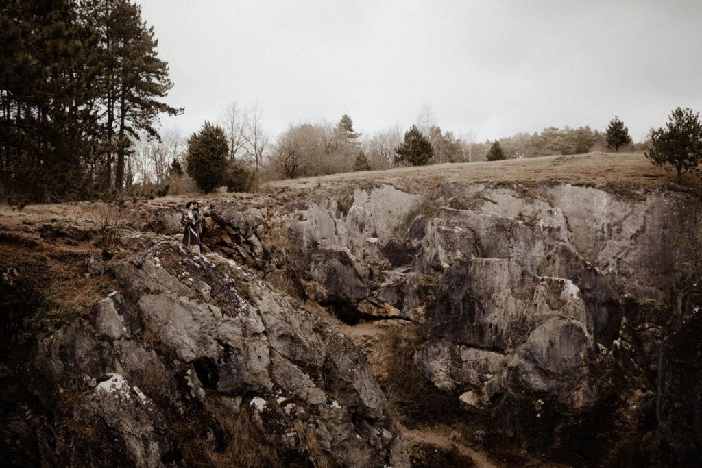A rock formation in the Ardennes, a beautiful backdrop for an elopement